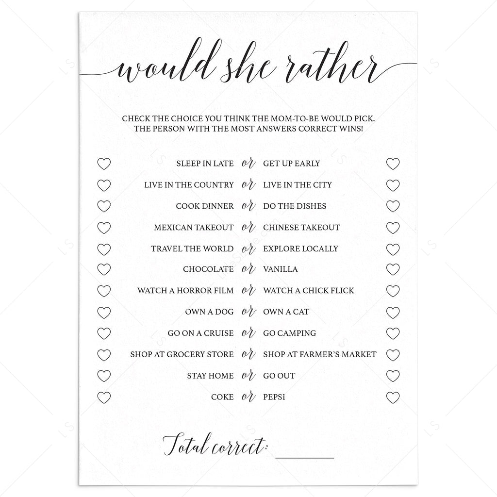 Would she rather baby shower game by LittleSizzle