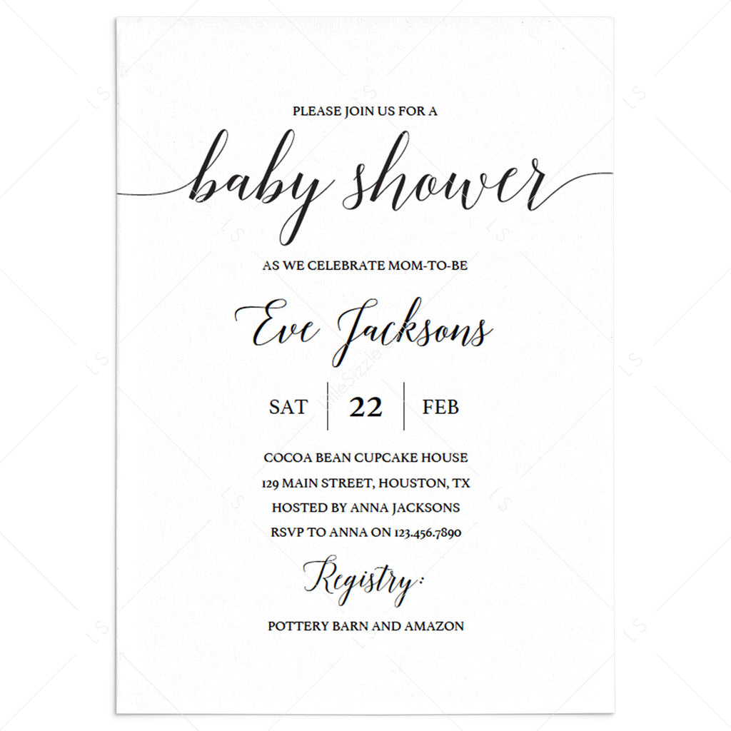 Calligraphy Baby Shower Invitation Template Black and White by LittleSizzle