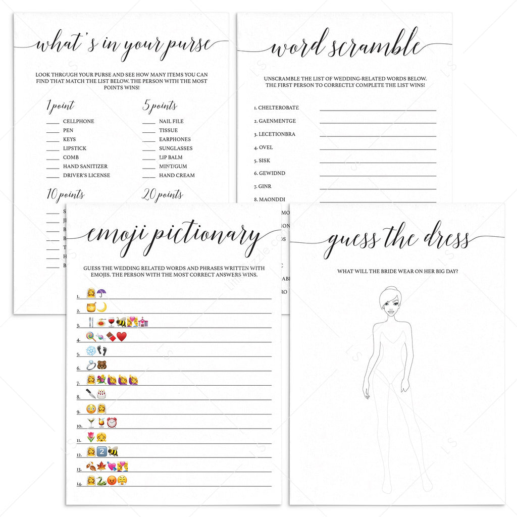 Black and White Bridal Shower Games Bundle Printable by LittleSizzle
