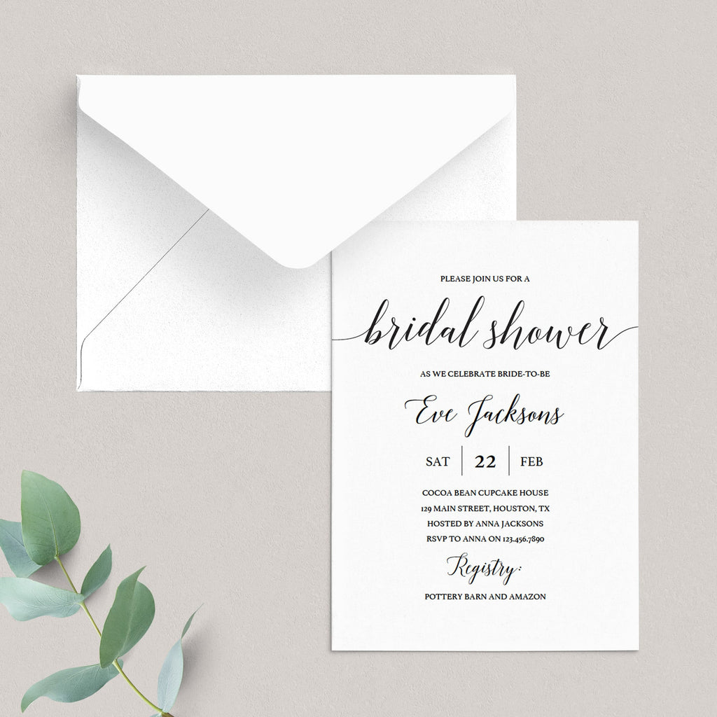 Calligraphy Bridal Shower Invitation Template