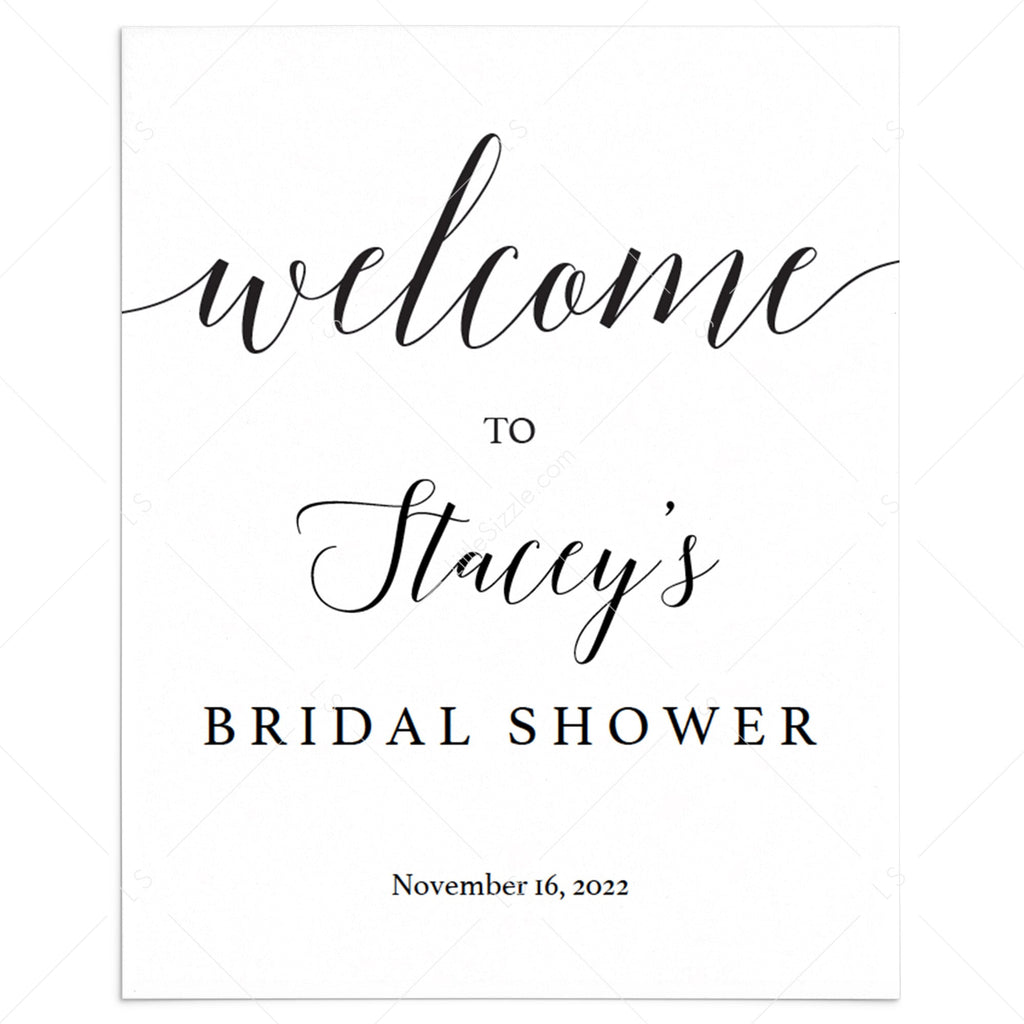 Calligraphy bridal shower welcome sign template by LittleSizzle