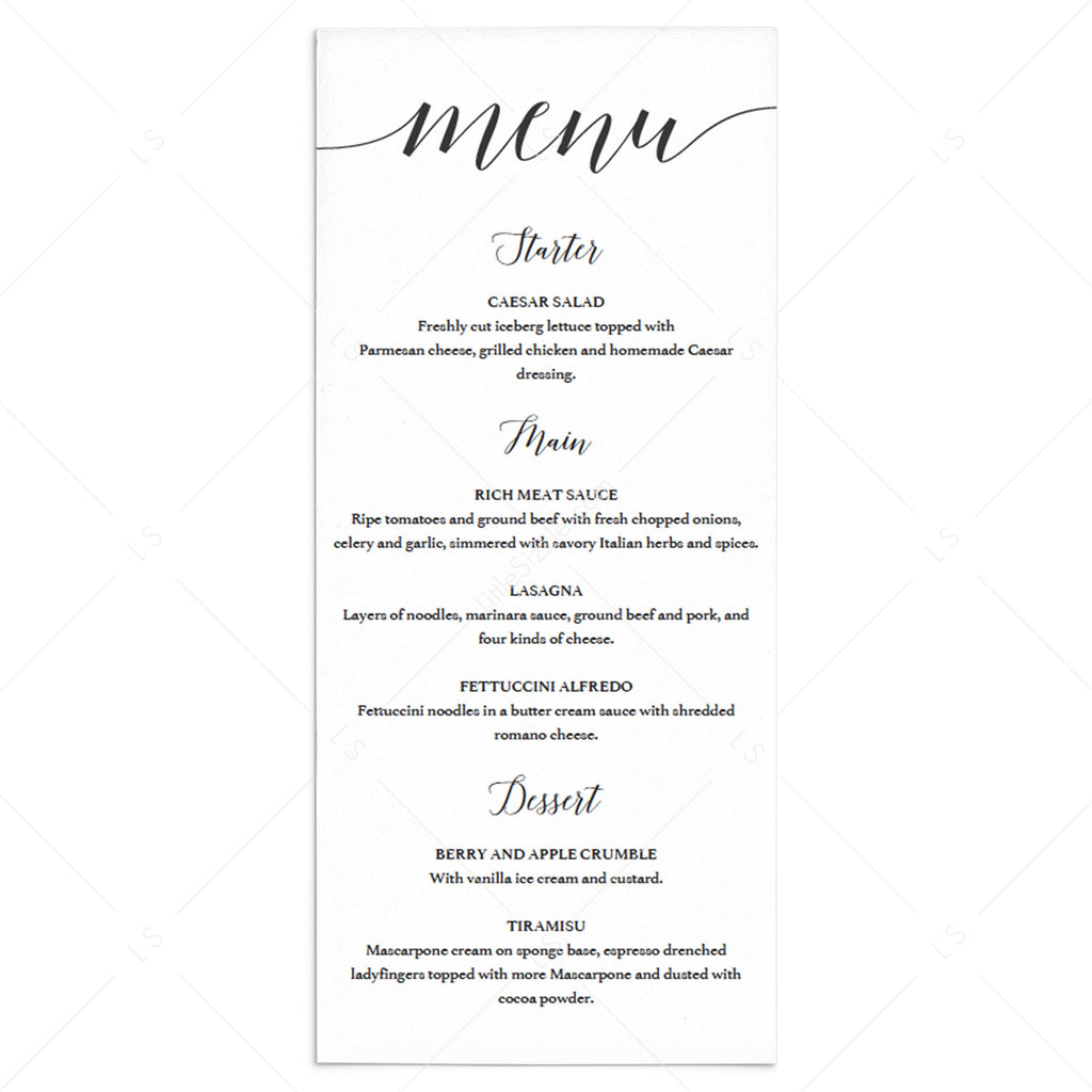 DIY Menu Template Black & White by LittleSizzle