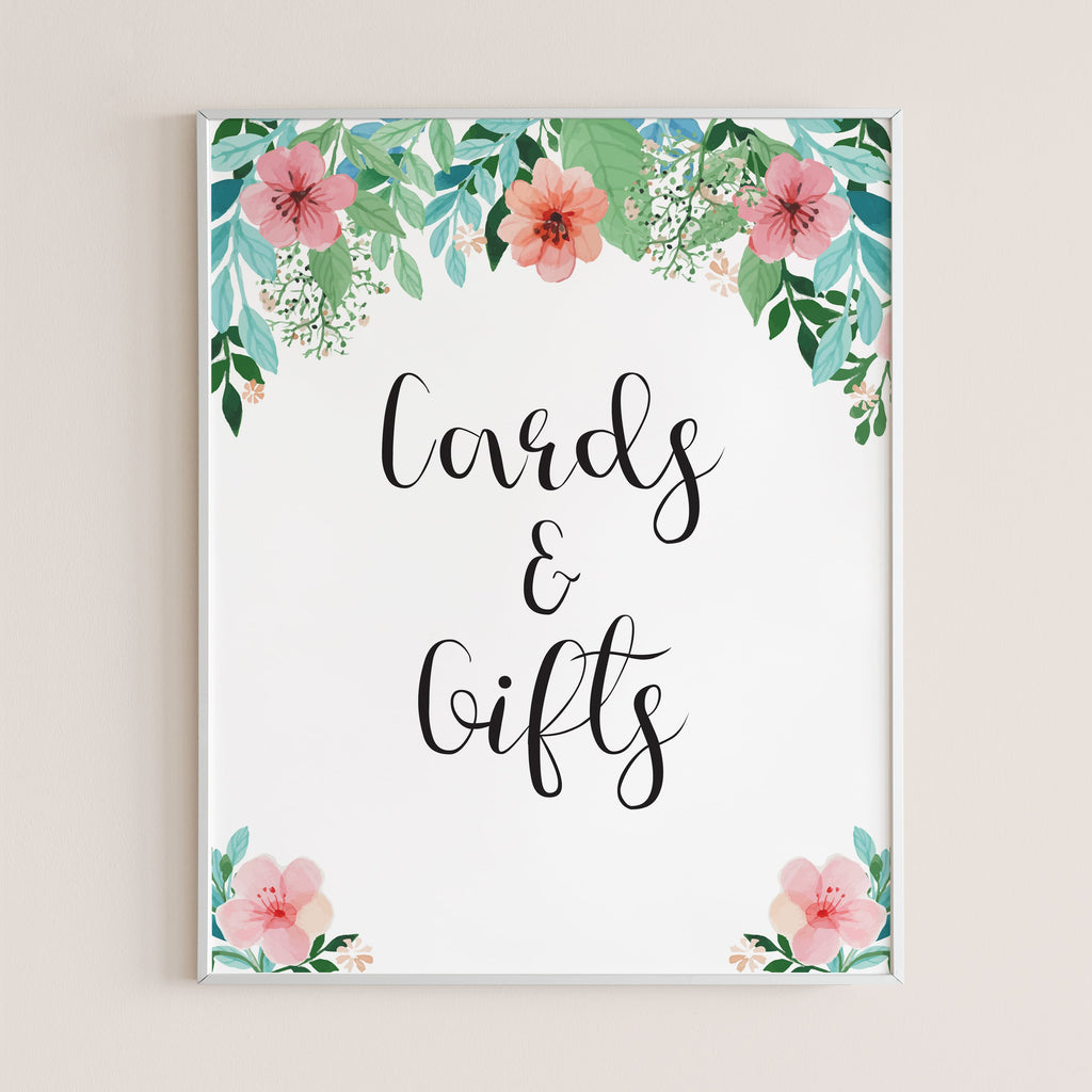 Pink and green floral party cards and gifts sign by LittleSizzle