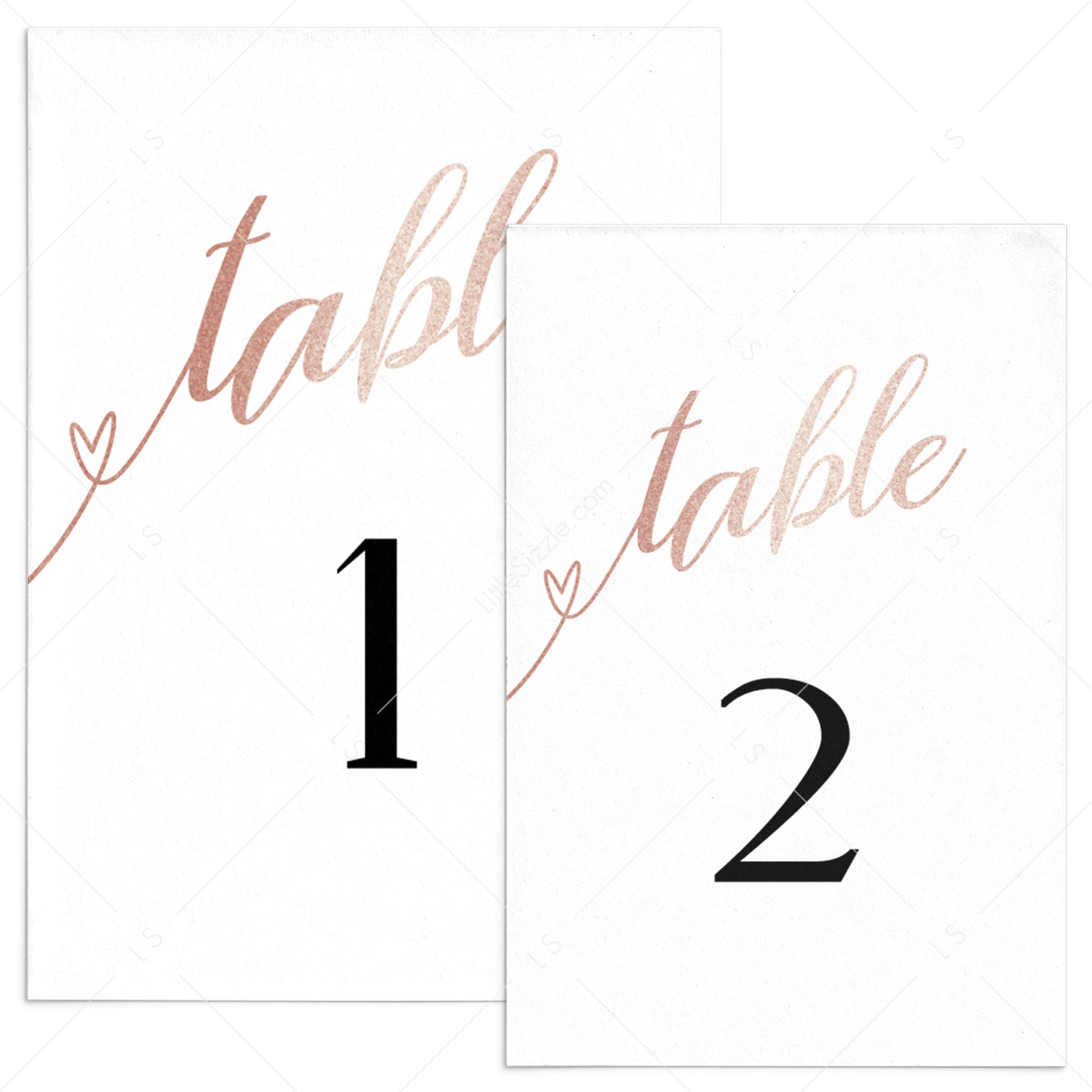 Chic Table Decor Rose Gold Table Numbers Template Littlesizzle