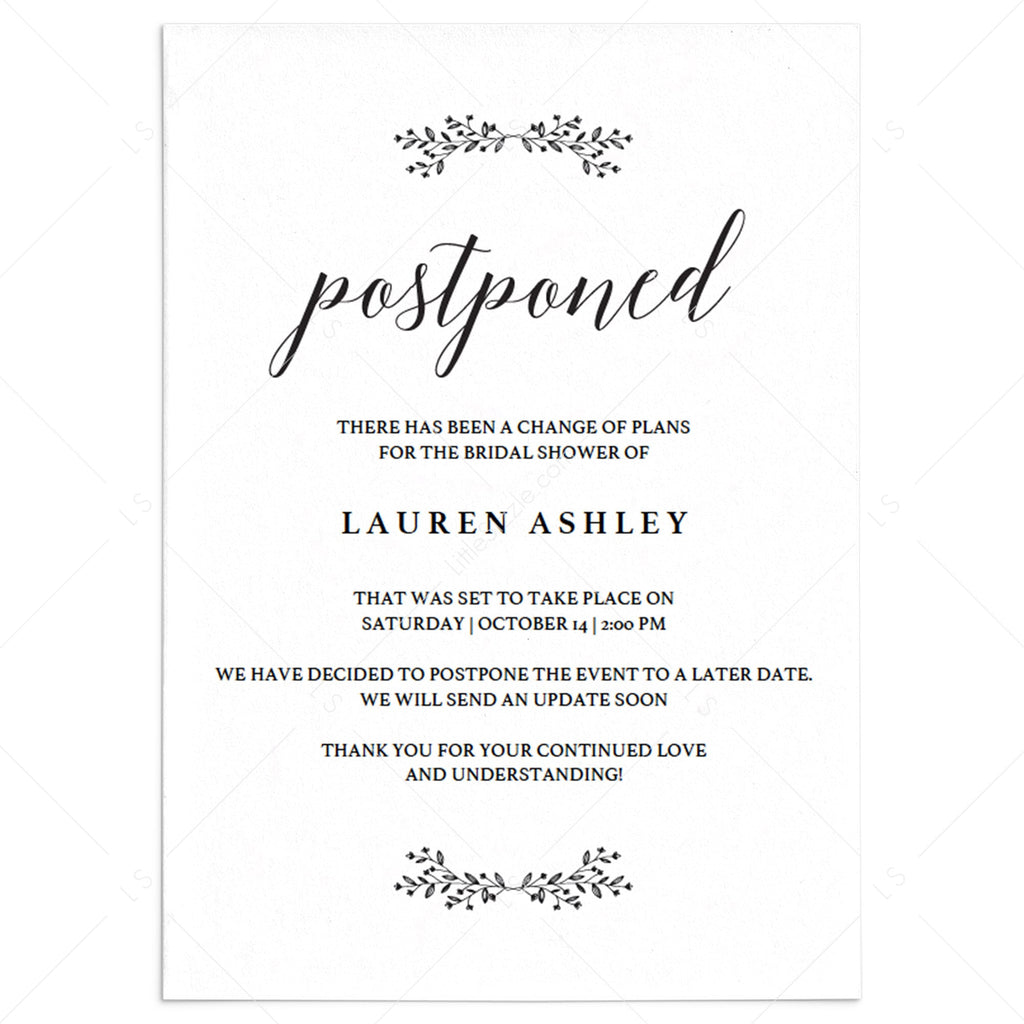 Rustic wedding change the date card template by LittleSizzle