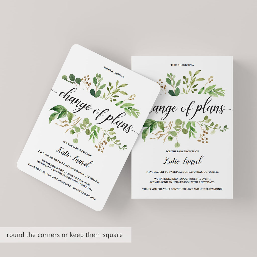 Editable postponement announcement cards for neutral baby party by LittleSizzle