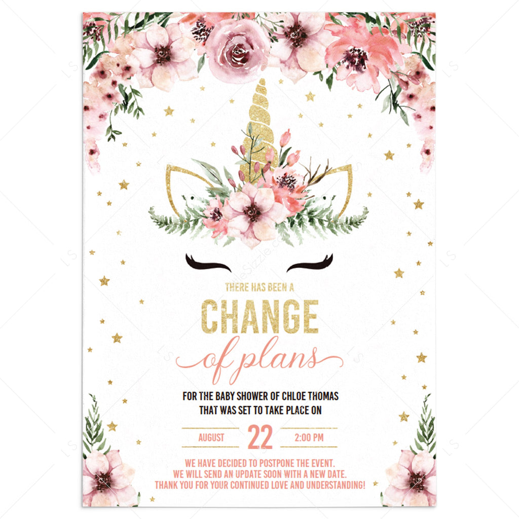 Change of Date Girl Baby Shower Announcement Card PDF Template by LittleSizzle