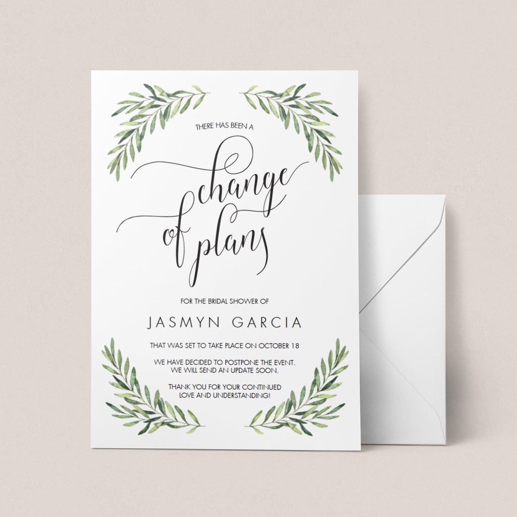 Change of Plans Announcement Template Greenery by LittleSizzle