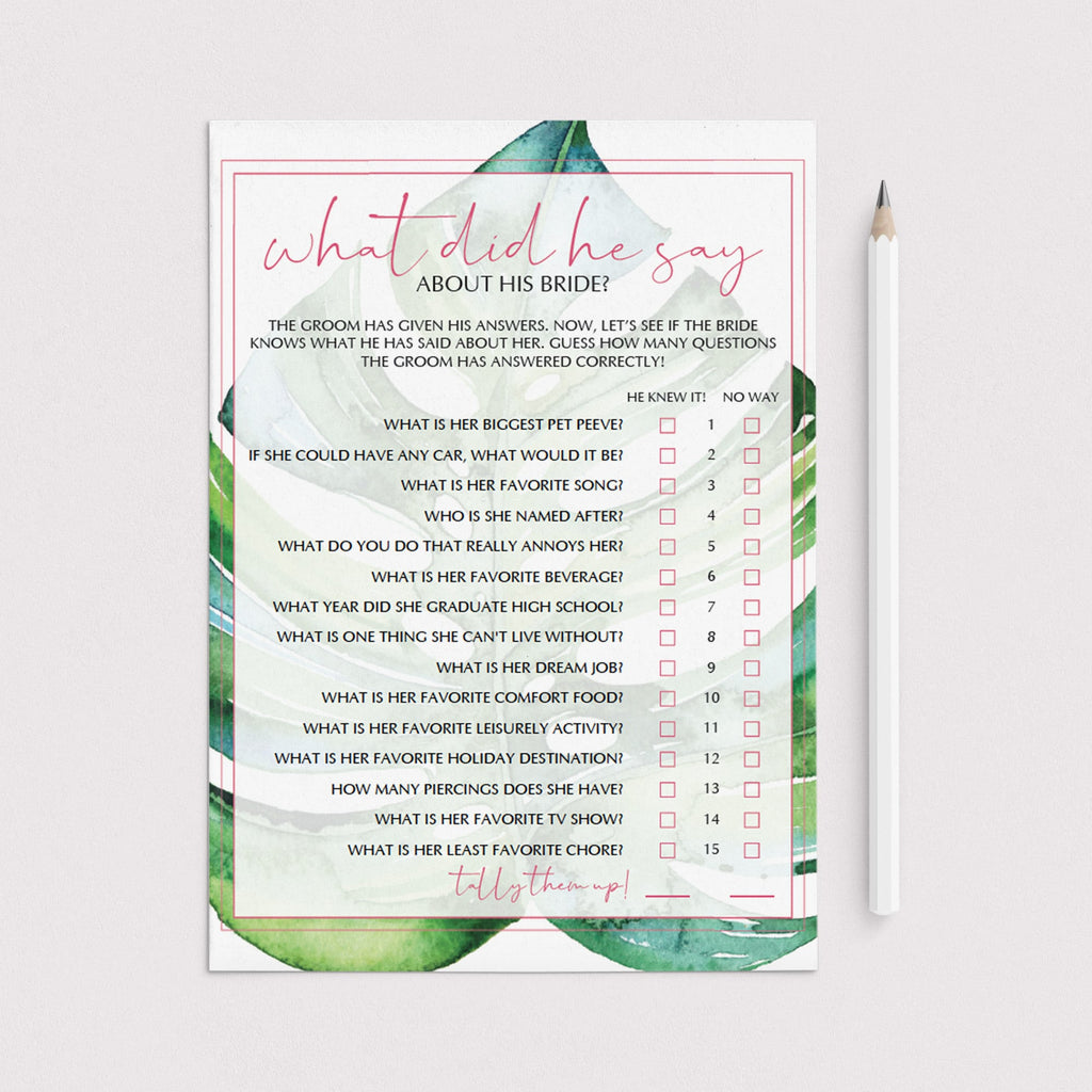 pink and green bridal shower games for tropical party