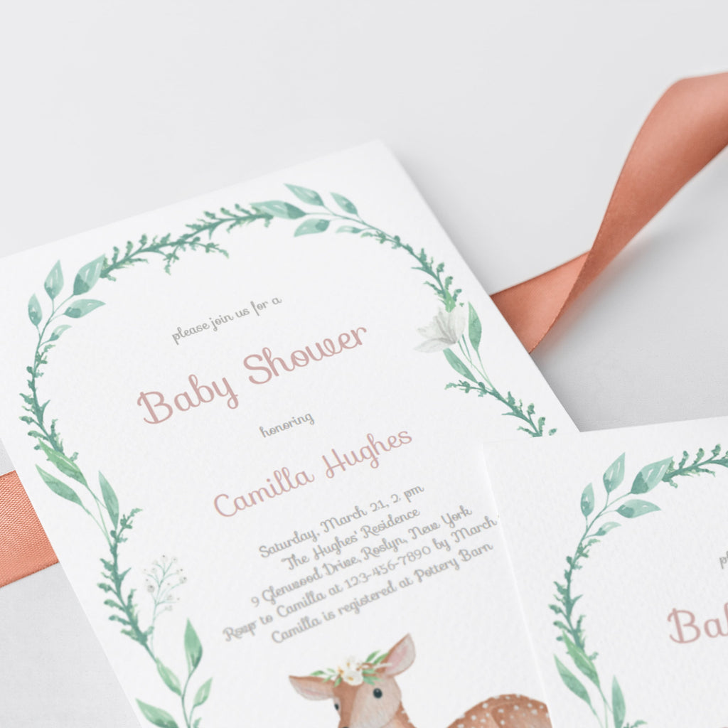 Greenery wreath baby shower invite with baby deer by LittleSizzle