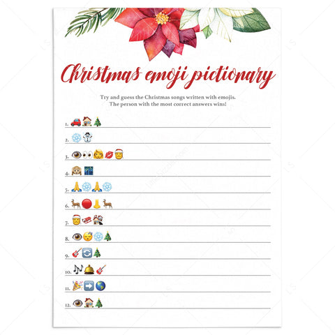 Christmas Emoji Pictionary Printable