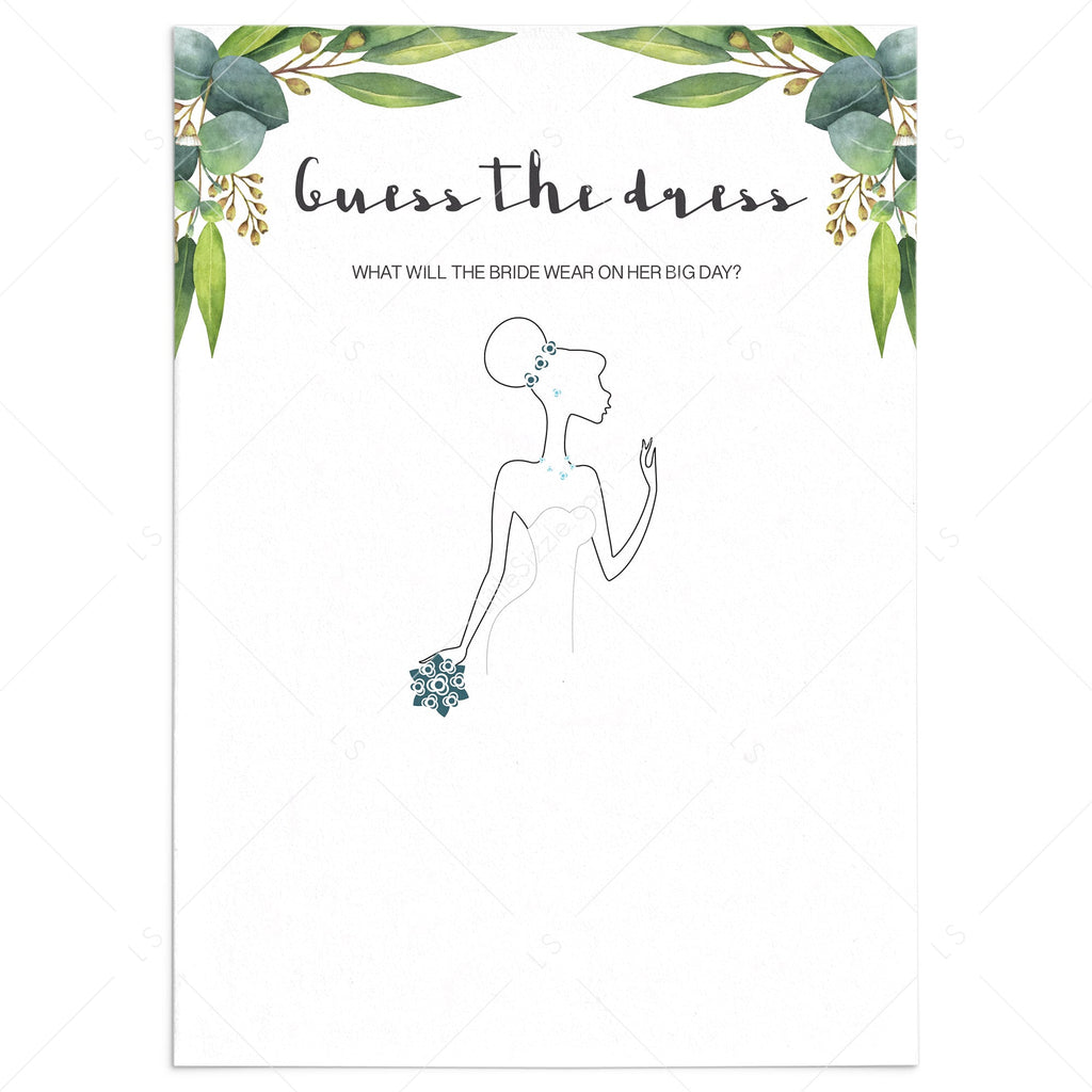 Unique Bridal Shower Game Guess The Dress Printable Cards Littlesizzle