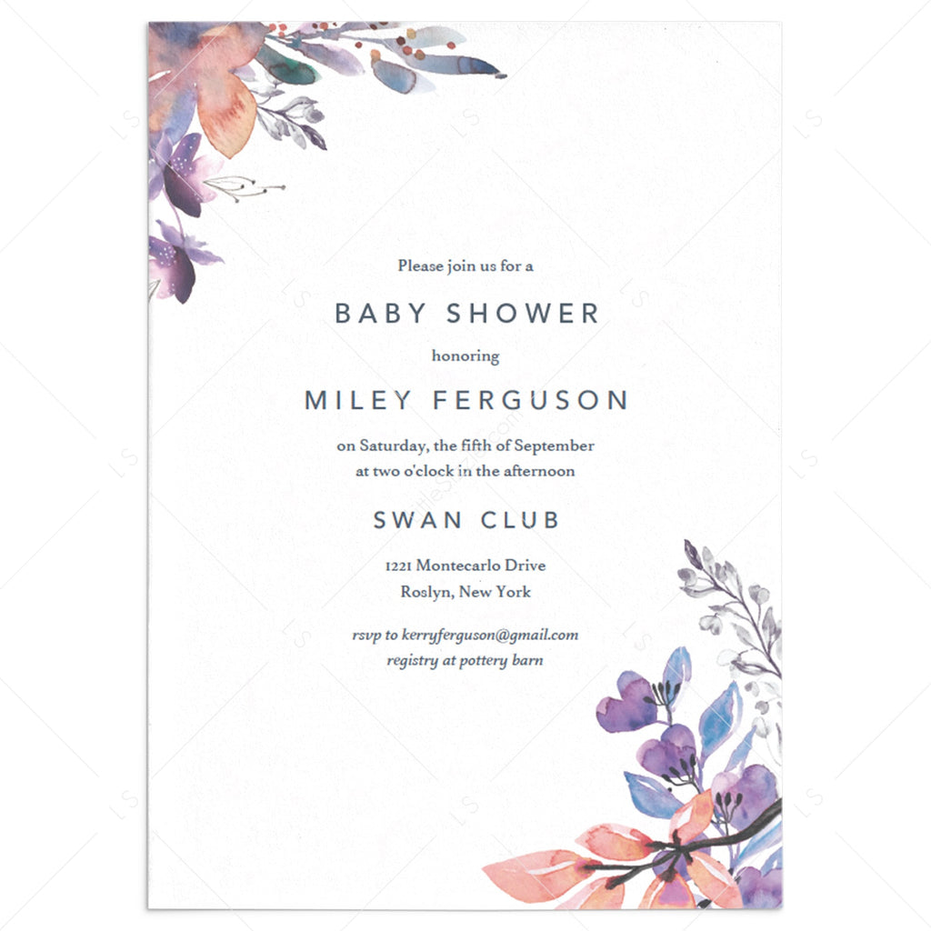 Lavender floral baby shower invite template DIY PDF by LittleSizzle