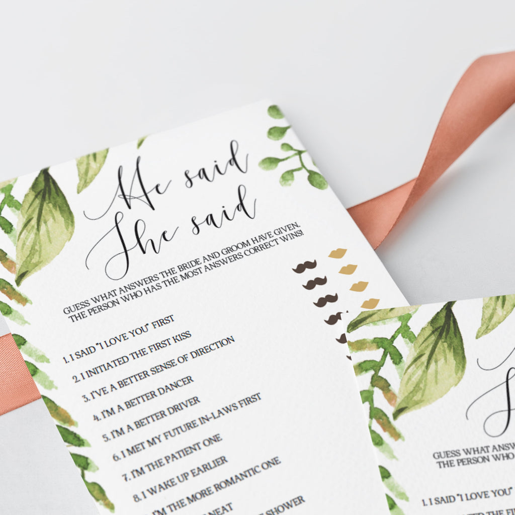 green and gold bridal shower games instant download
