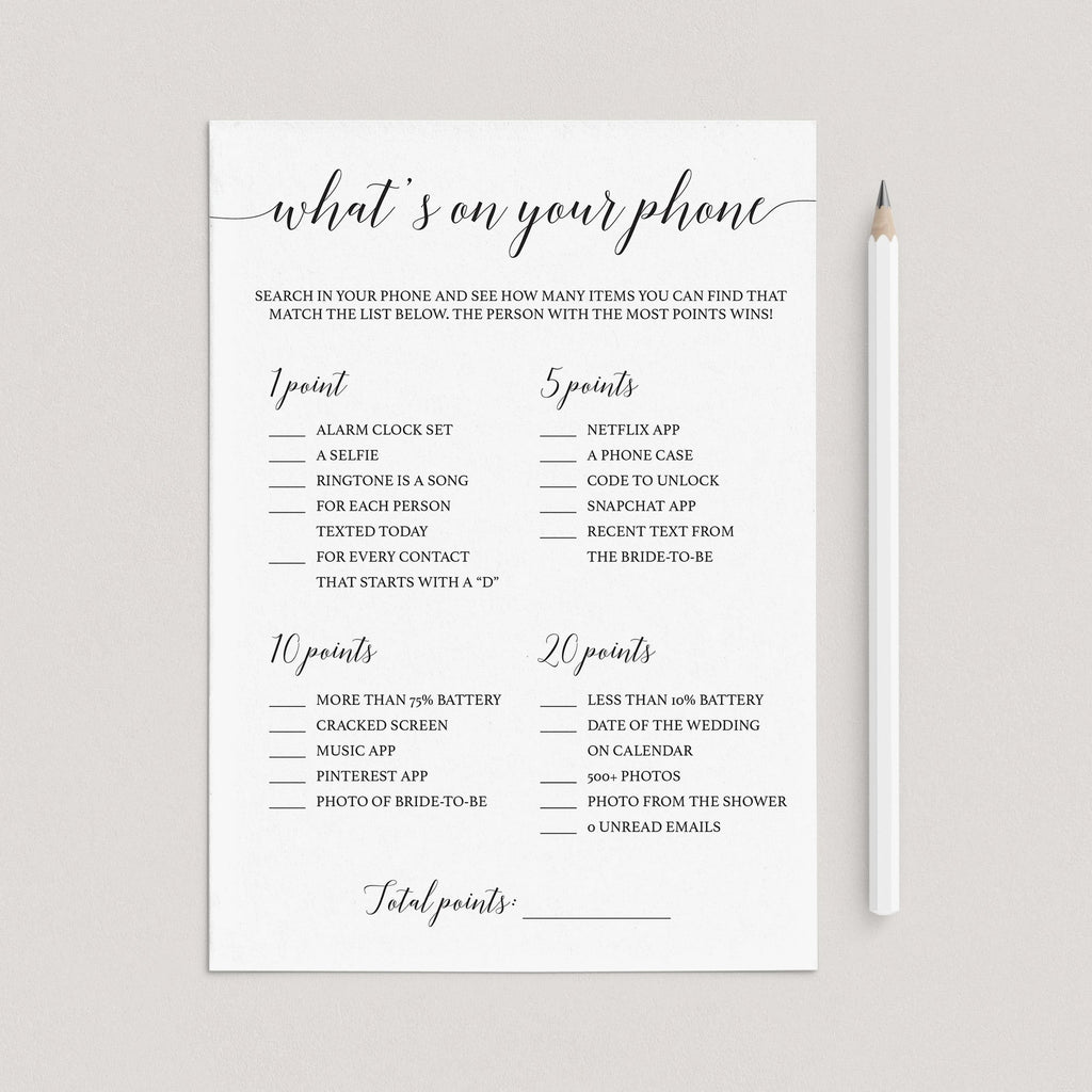 Modern Bridal Shower Game What's On Your Phone Printable by LittleSizzle