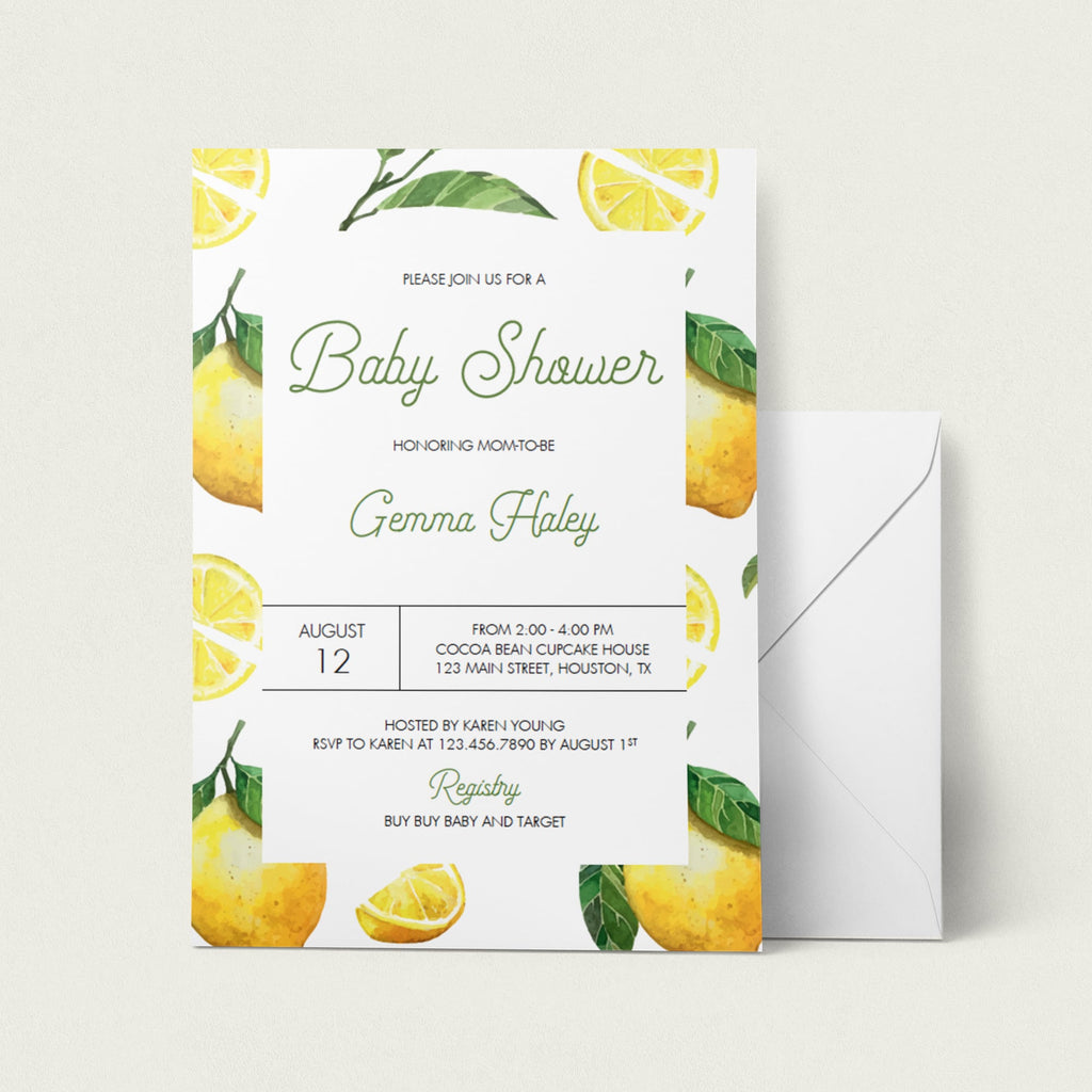 Citrus baby shower invitation digital download by LittleSizzle