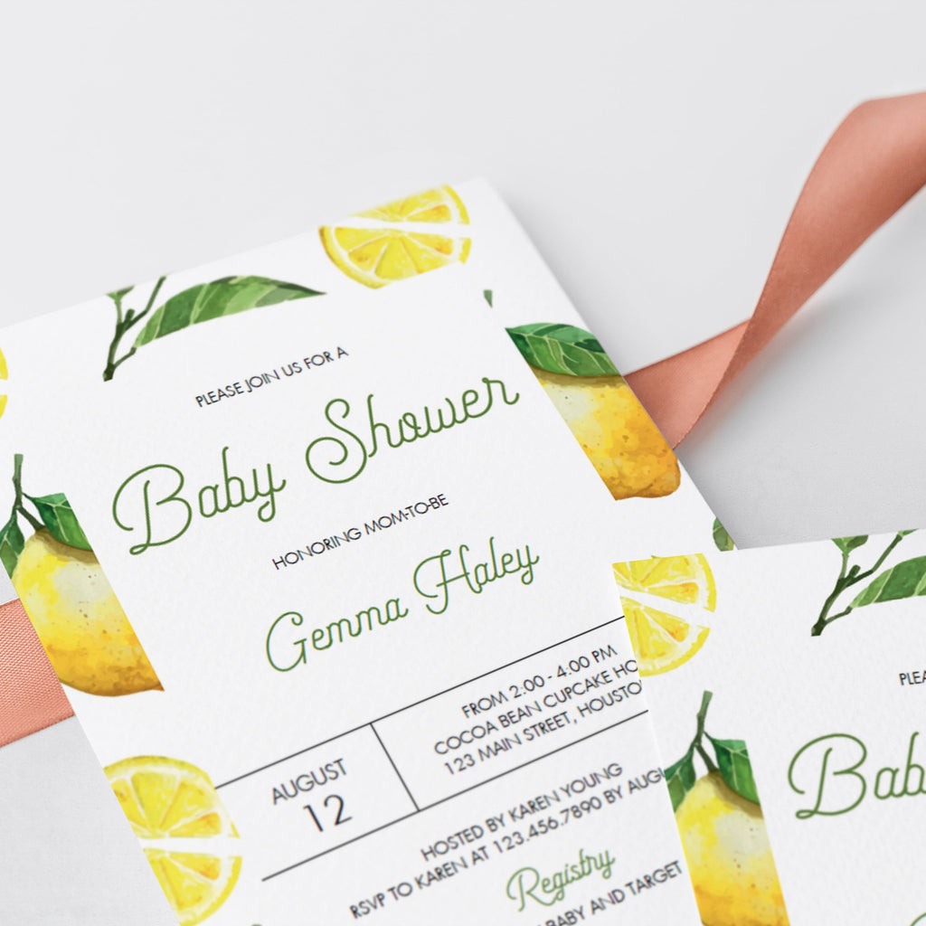Green and yellow summer baby shower invite by LittleSizzle