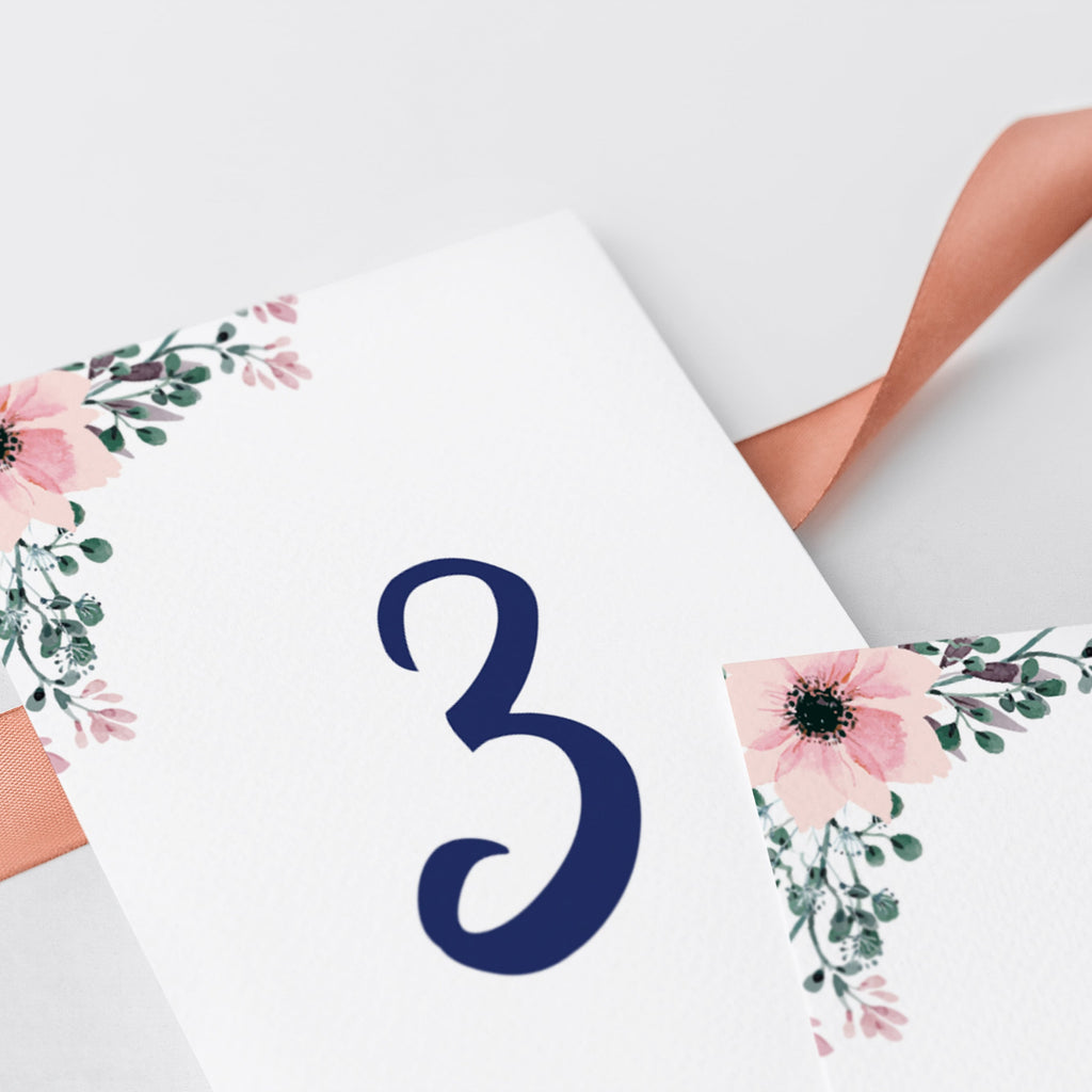 Floral Table Number Templates Instant Download
