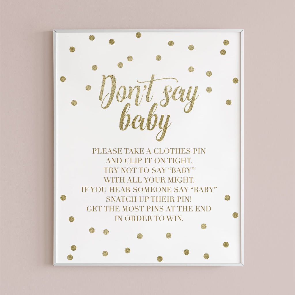Dont say baby game for gold baby shower table sign by LittleSizzle