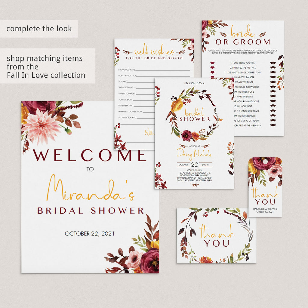 Bridal party fall theme printables by LittleSizzle
