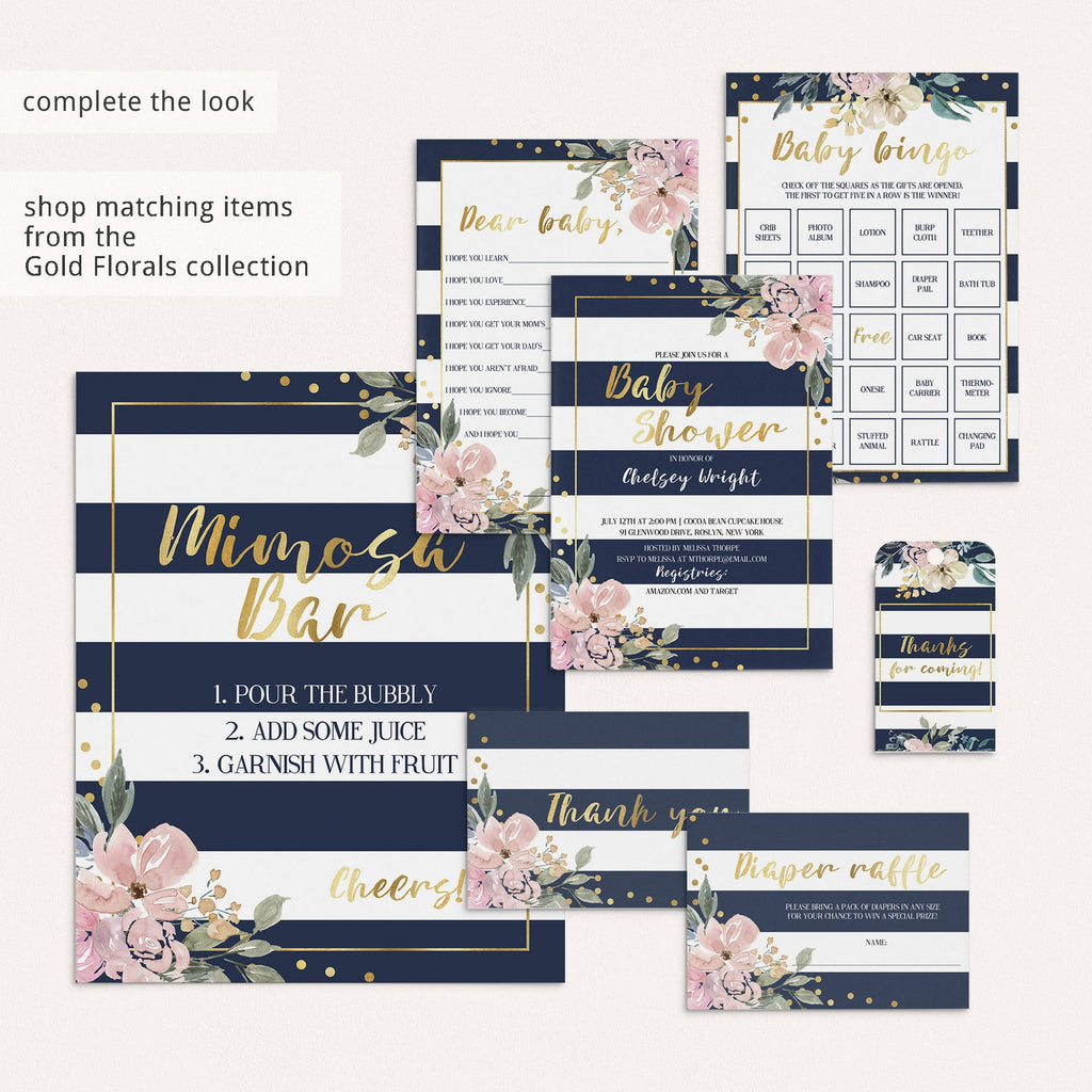 Navy gold and floral baby shower ideas by LittleSizzle
