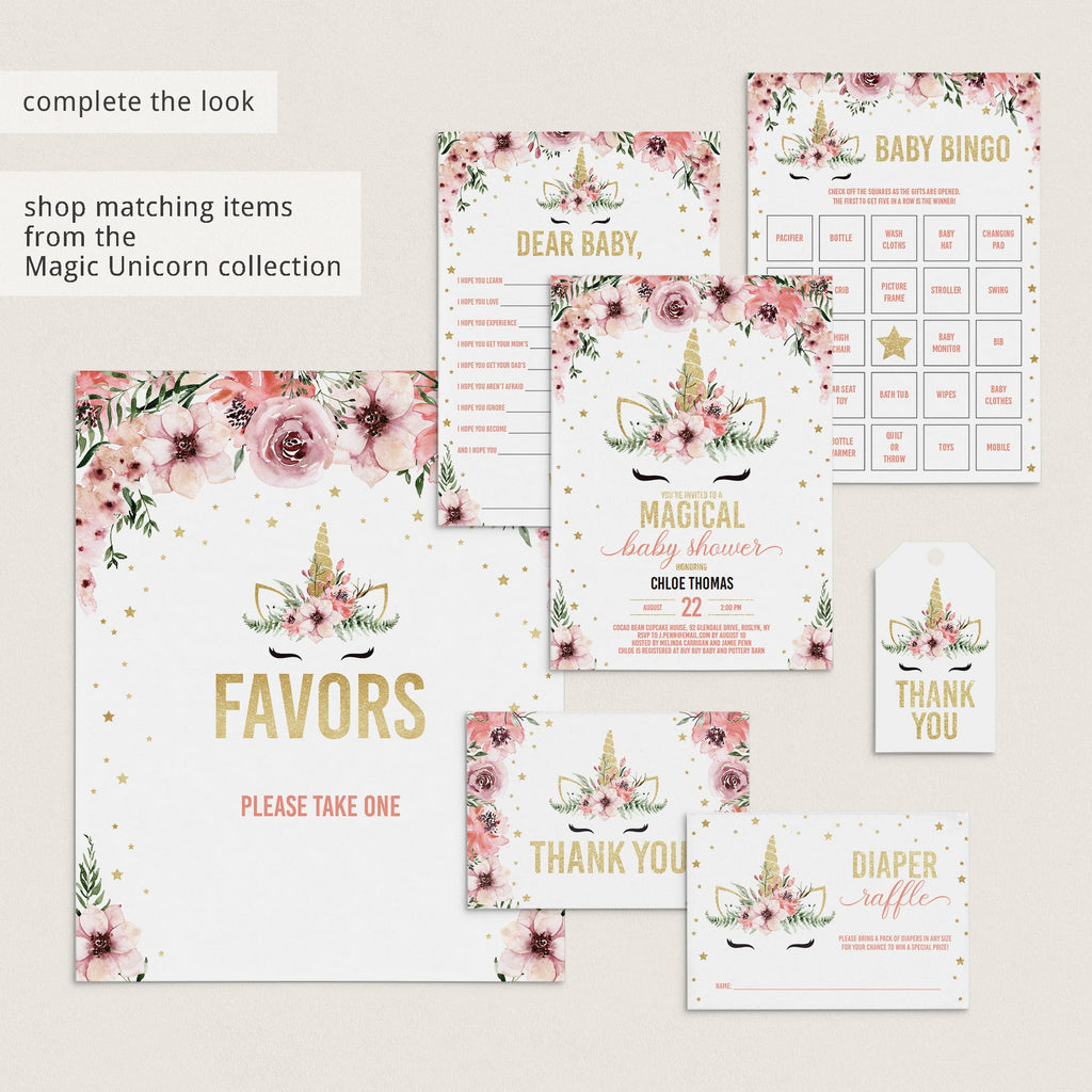 Unicorn babyshower book cards with pink flowers printable by LittleSizzle