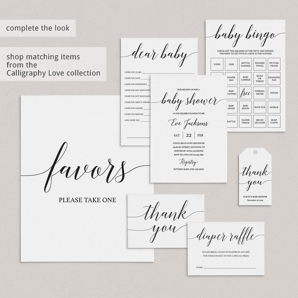 Modern Calligraphy Baby Shower Game Bundle Instant Download