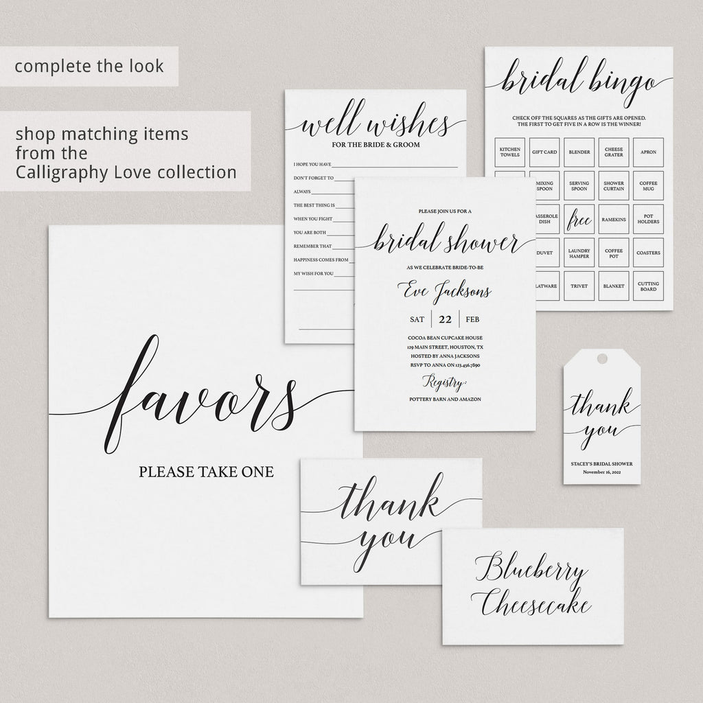 Elegant Bridal Shower Thank You Tag Template