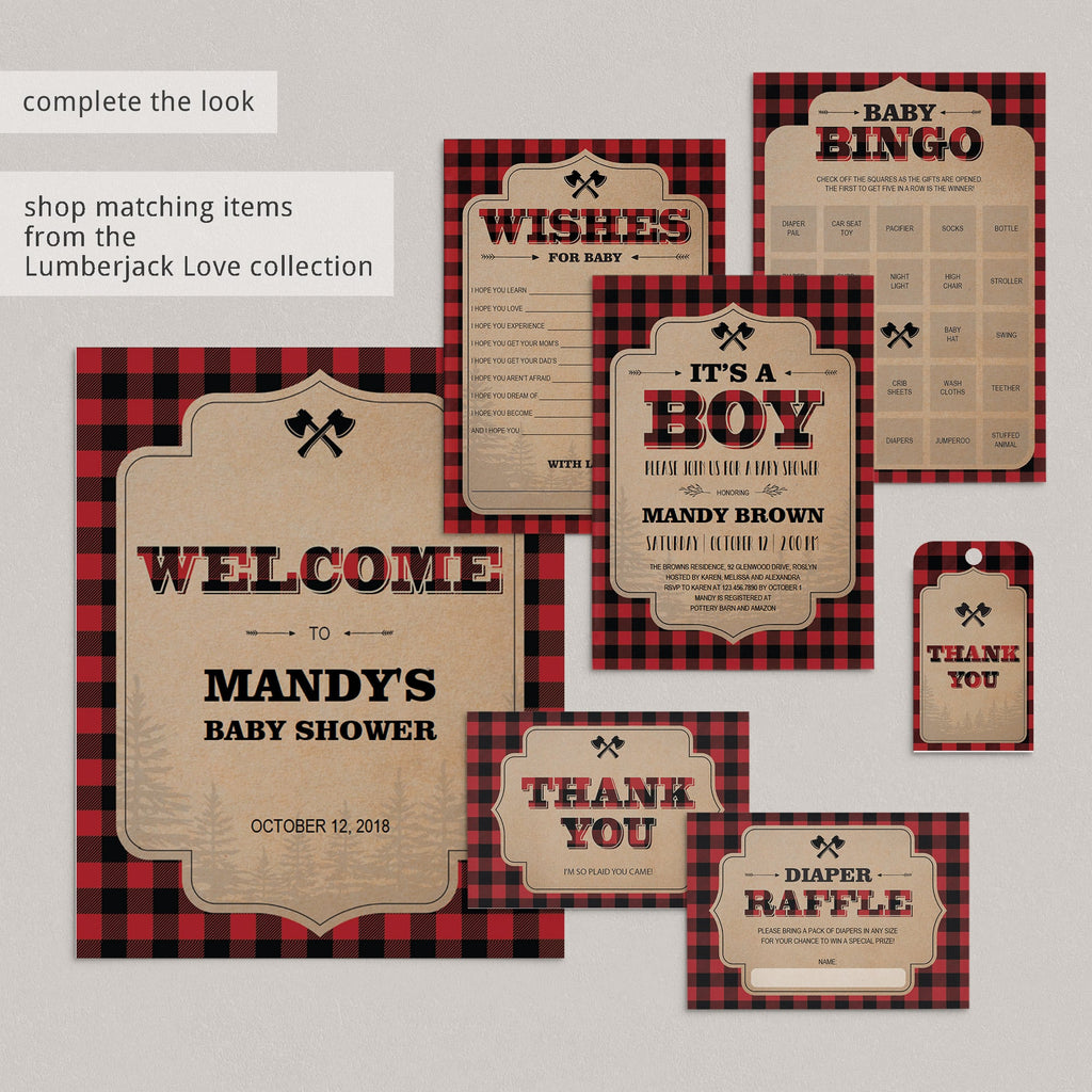 Buffalo Plaid Baby Bingo Cards Prefilled, Blank and Template