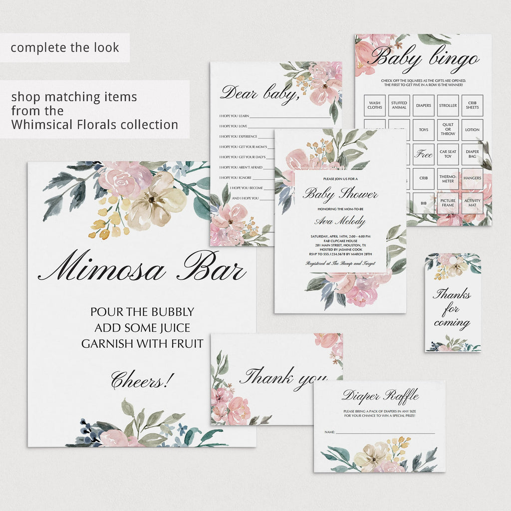 Baby Shower Mad Libs Printable Blush Floral
