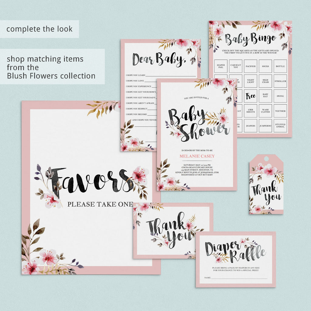 Printable baby shower party supplies florals by LittleSizzle