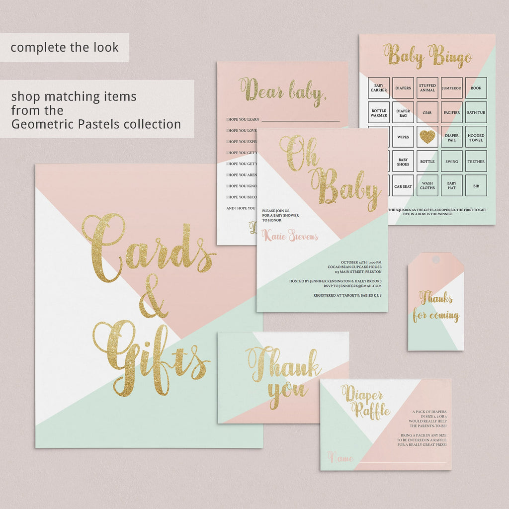 Pink mint gold baby shower ideas by LittleSizzle