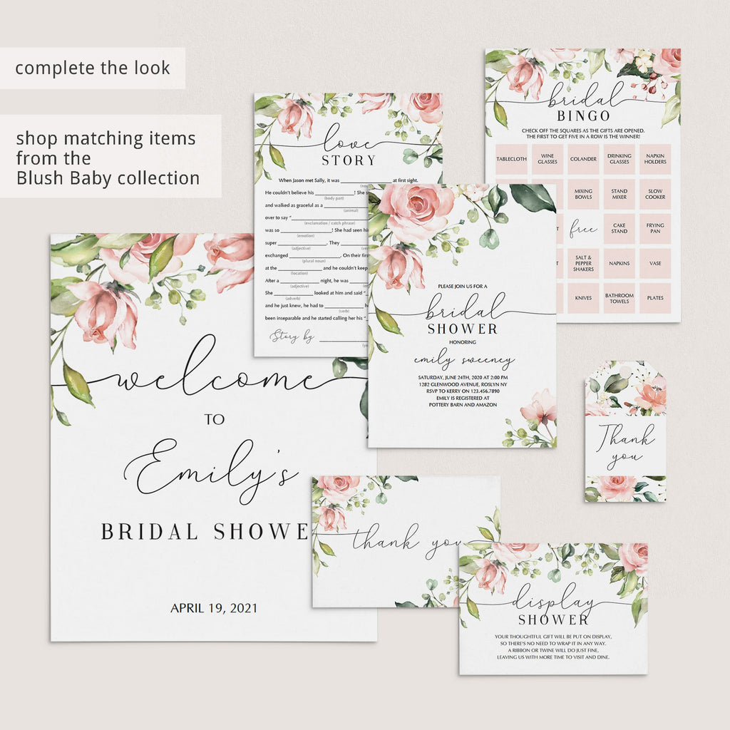 Blush floral bridal shower decorations by LittleSizzle