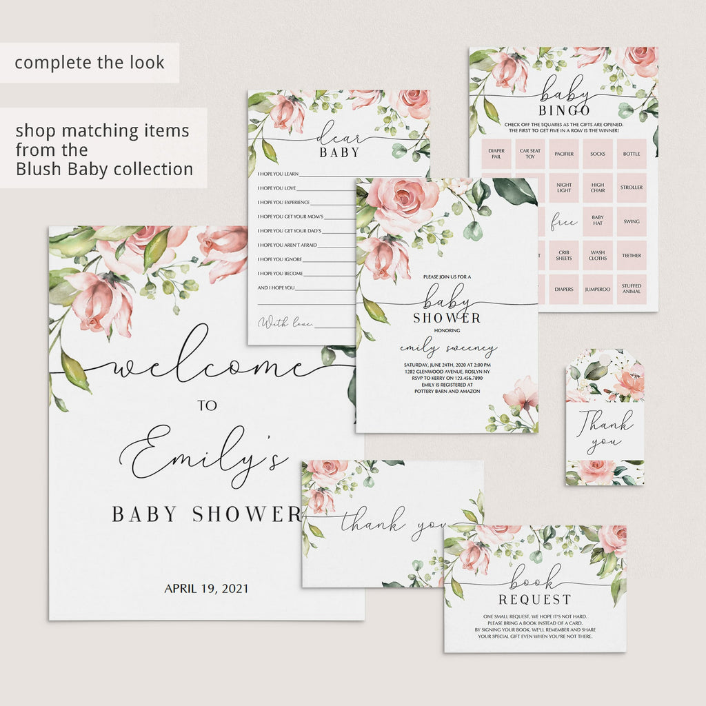 Blush Floral and Greenery Baby Shower Games Bundle