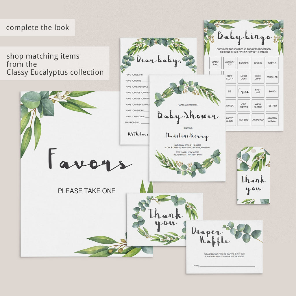 Eucalyptus botanical baby shower games and decorations by LittleSizzle