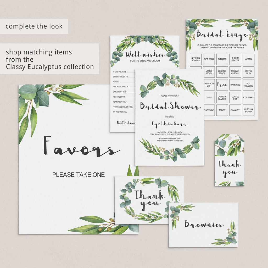 watercolor green leaf bridal shower activity package