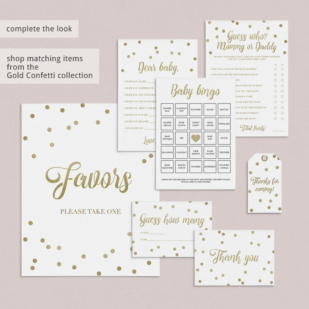 Unique Baby Shower Game Candy Bar Match Gold Confetti