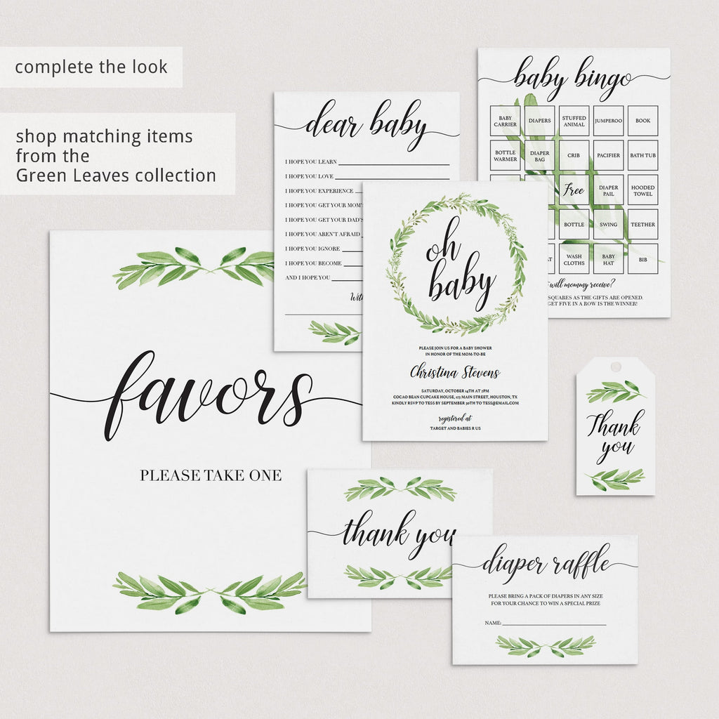 Greenery Baby Shower Guessing Signs Printables