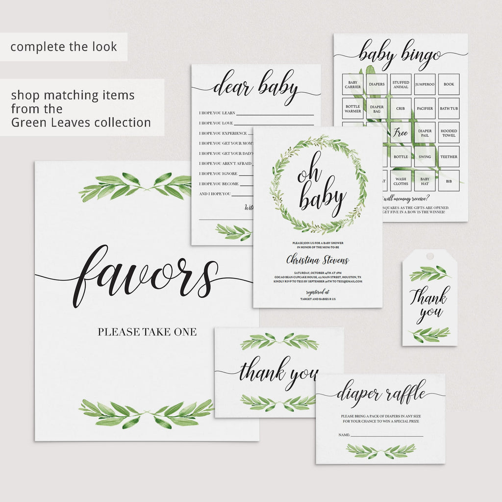 Classy green baby shower game package printable by LittleSizzle