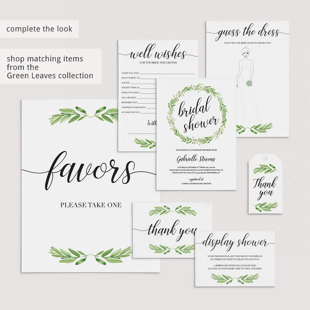 green leaf bridalshower signs bundle by LittleSizzle
