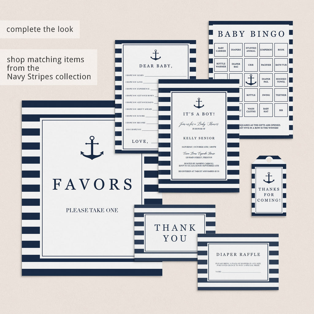 Navy themed baby shower ideas printables by LittleSizzle