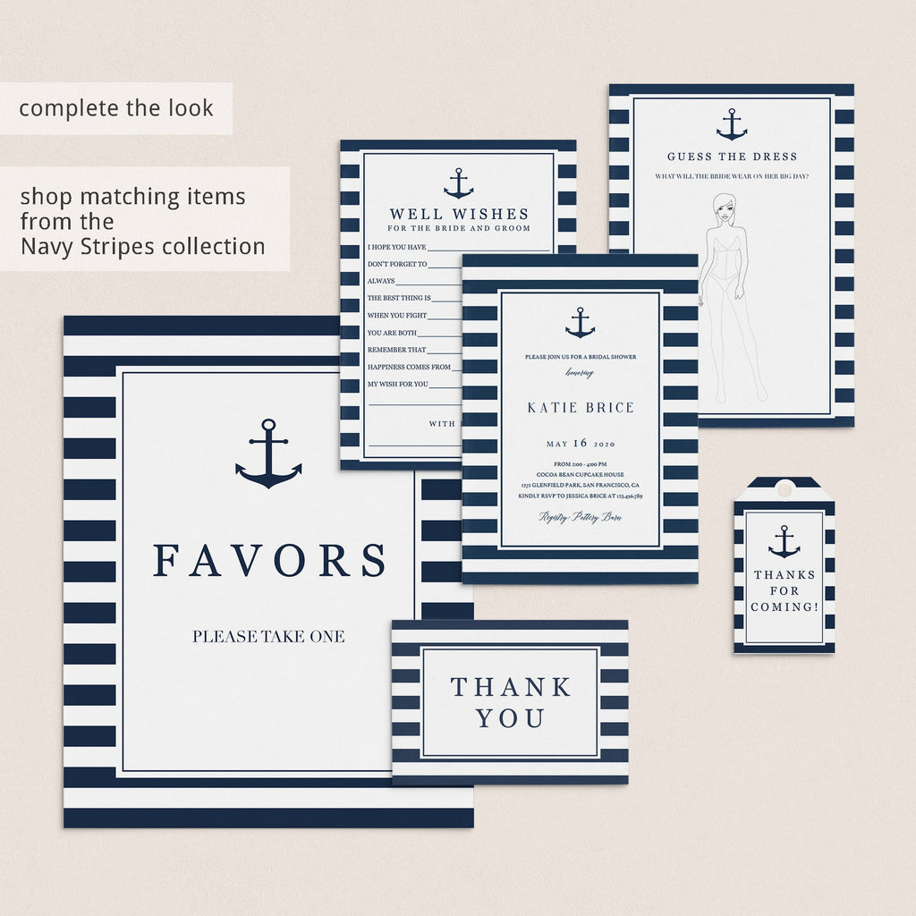 navy wedding shower ideas instant download by LittleSizzle
