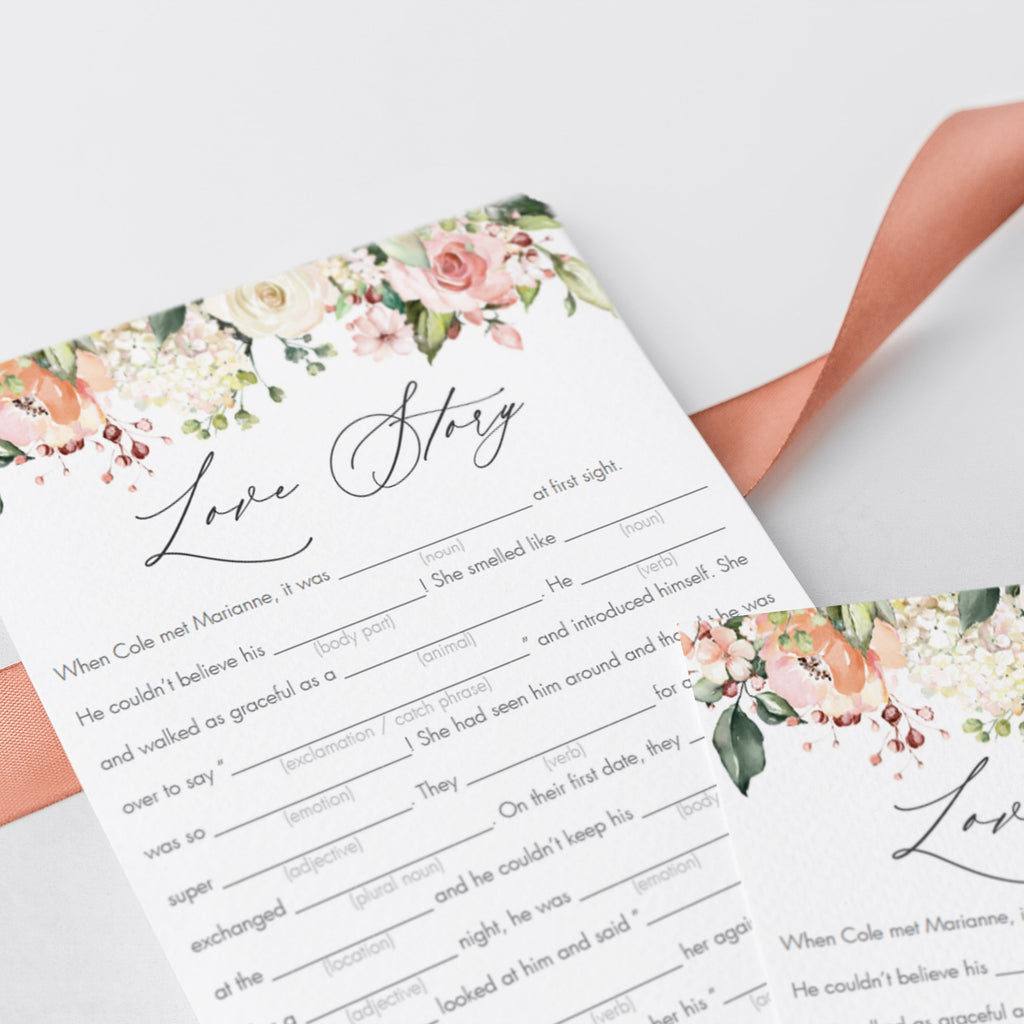 floral bridalshower mad libs game cards download