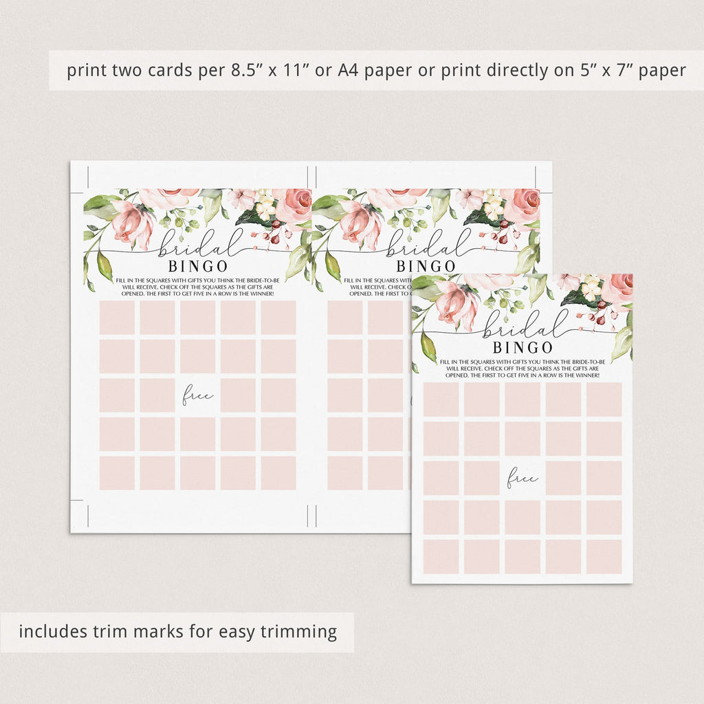 coral bridalshower bingo printables