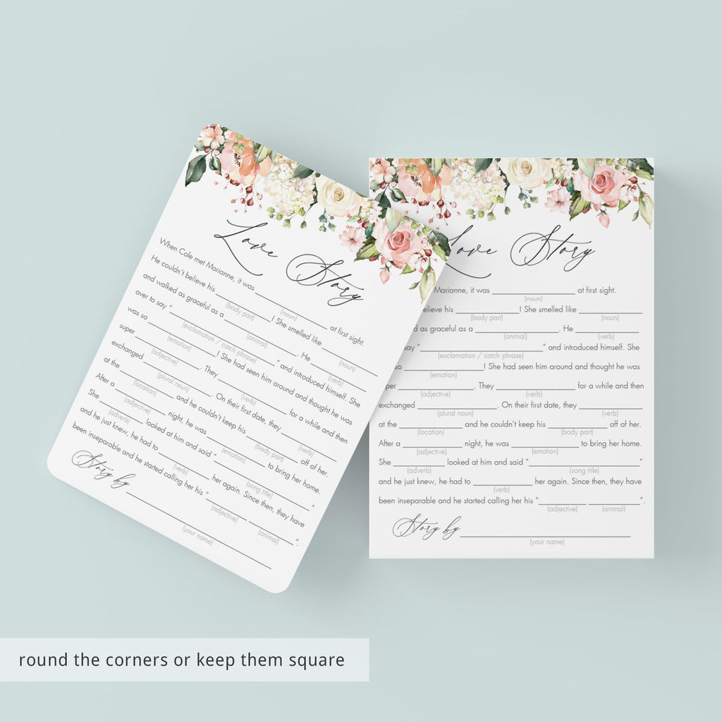 Coral Bridal Shower Mad Libs Love Story Printables