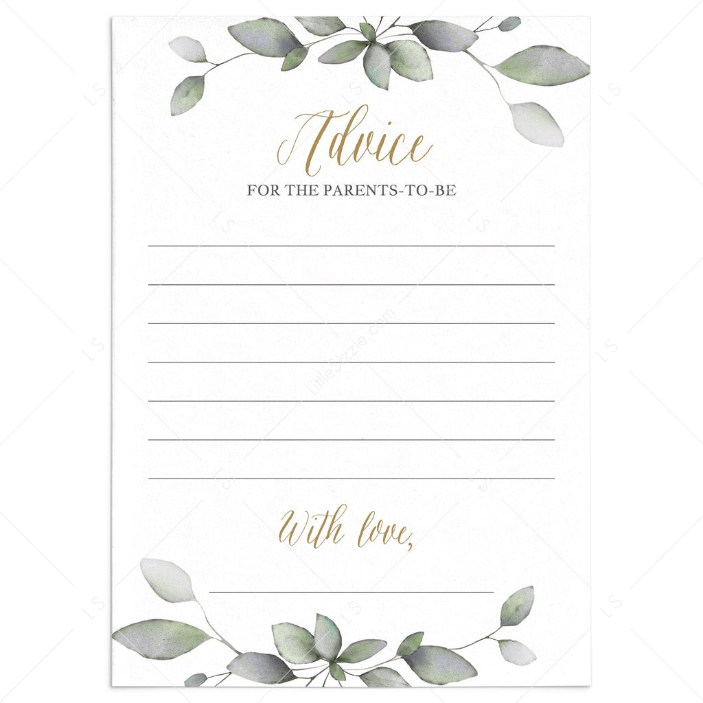 Printable advice cards for greenery couples baby shower by LittleSizzle