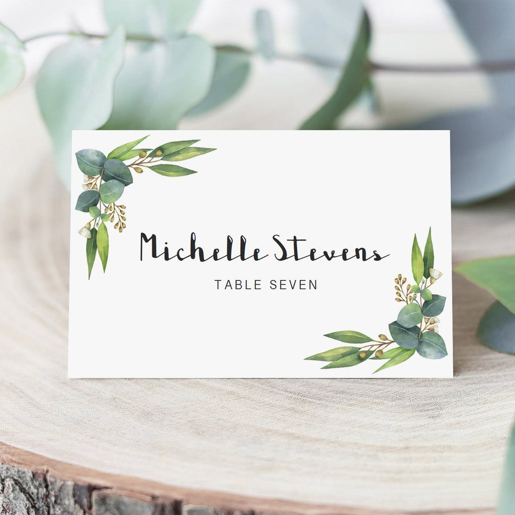Green Eucalyptus Leaf Bridal Shower Name Cards Templates