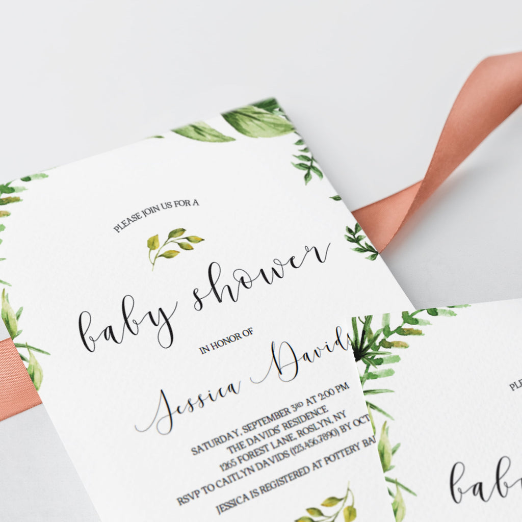 Watercolor leaves on baby shower invite template by LittleSizzle