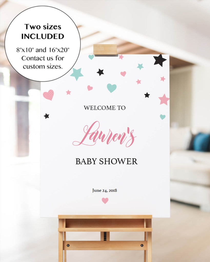 Mint and pink baby shower welcome sign printable by LittleSizzle