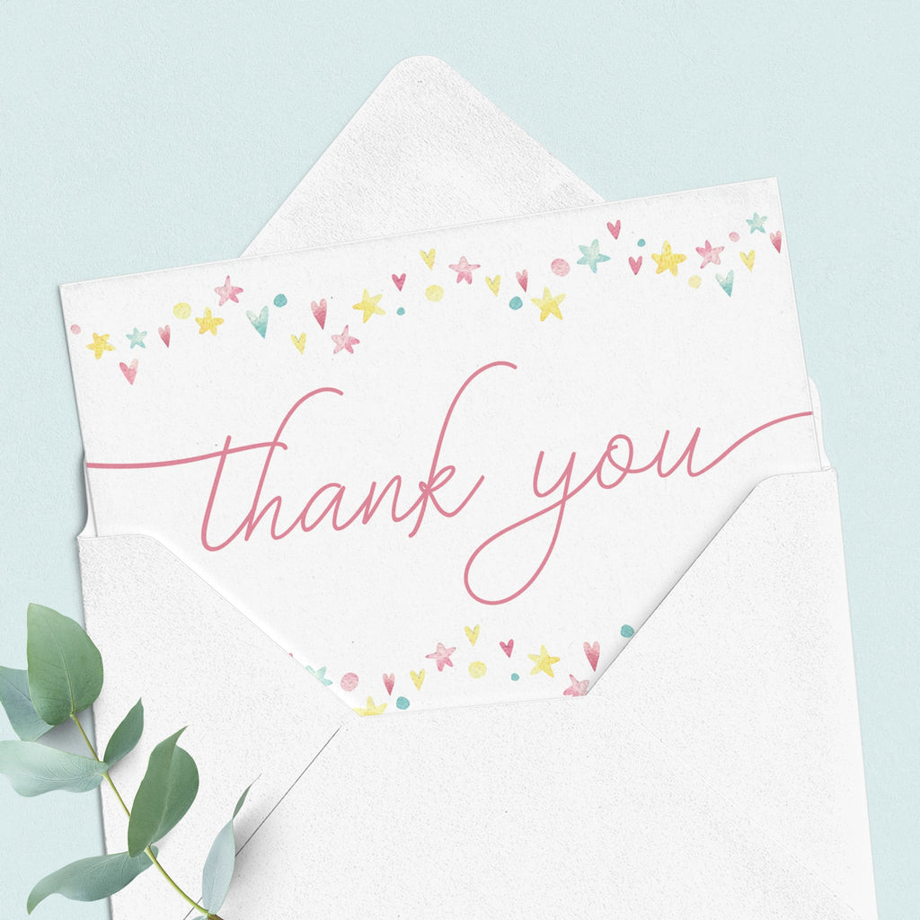 Printable folded thank you cards for pink shower by LittleSizzle